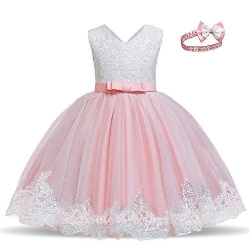 TTYAOVO Bebé Boda Bautismo Bautizo Tutu Vestido Chicas Princesa Vestir Talla(90) 12-24 Meses 648 Rosa