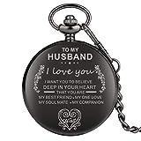 Reloj de bolsillo con diseño de números árabes negros clásicos para mujer, aleación de alta calidad con colgante de cadena gruesa para marido