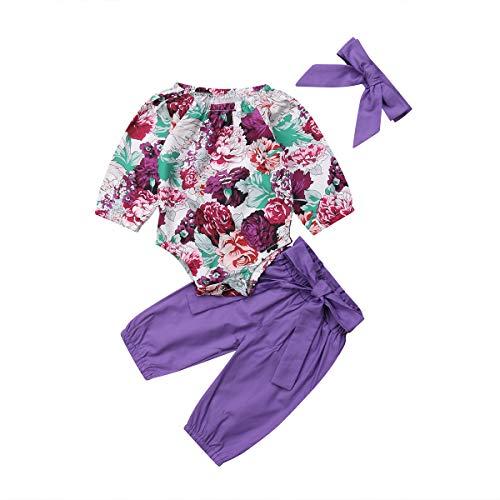 Wide.ling Baby Meisje 3 Stks Outfit Set Baby Meisje Bloemen Print Romper Jumpsuit+Paarse broek+Hoofdband Casual Kleding Set