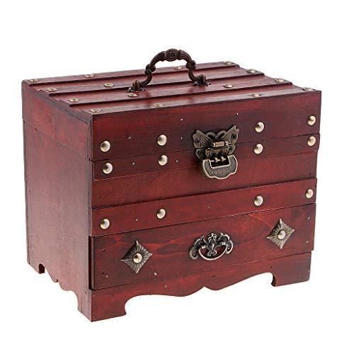 Fenteer Boîte à Bijoux Vintage Étui Rangement Organiseur Rétro Durable