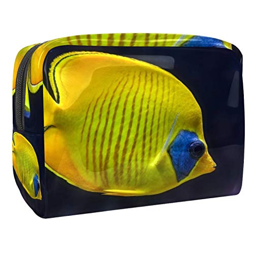 Portable Makeup Bag with Zipper Travel Toiletry Bag for Women Handy Storage Cosmetic Pouch Tropical Yellow Fish