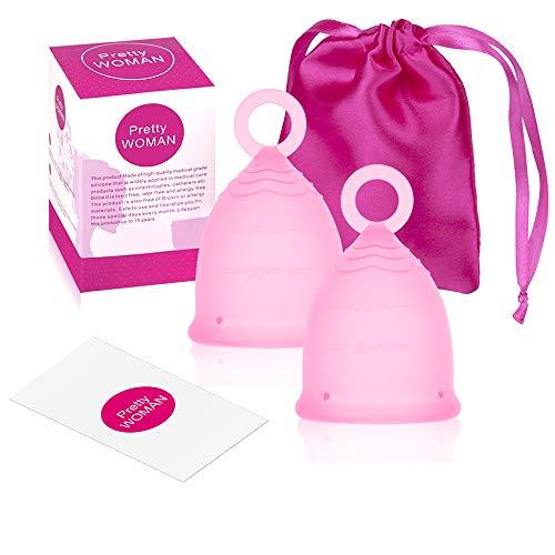 Copa menstrual de 2 piezas, copa menstrual de silicona Scienlodic reutilizable, alternativa de tampones y almohadillas femeninas, copa menstrual con asa de anillo