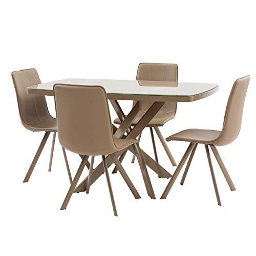Italian Concept 157Juego Cocina Vogue, Aluminio, Cristal Templado, Poliuretano, Piel sintética, marrón, 134x 80x 76cm
