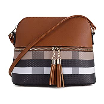 SG SUGU Lightweight Medium Dome Crossbody Bag with Tassel | Plaid Pattern | Brown/Brown