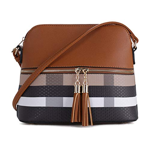 SG SUGU Lightweight Medium Dome Crossbody Bag with Tassel | Plaid Pattern | Brown/Brown