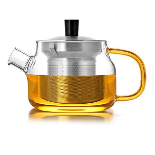 Q-HL Théières En fonte japonaises théière Teapot Tetsubin Tea Kettle Antidéflagrant Liner en acier inoxydable Filtre Teapot Pyrex courte bouche Teapot (Color : B, Size : 470ML)