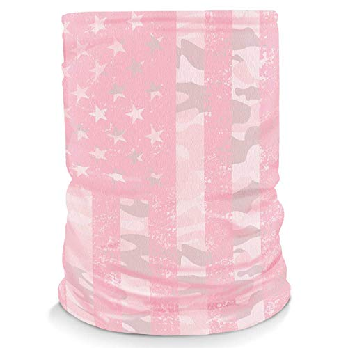 Controller Gear Neck Gaiter Face Mask Scarf - Proudly Made in The USA. Sun & Dust Protection, Sport, Bandanas for Fishing, Hiking, Cycling, Motorcycling, Running - Pink Camo Flag...