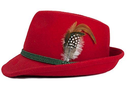 P.S. Schuhmacher Schuhmacher Damenhut aus Wolle mit Federn vers. Farben (57cm Umfang, rot)