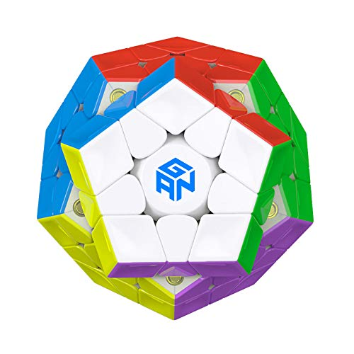 GAN Megaminx Cube 3×3 Speed Cube Gans Megaminx M Stickerless 3by3 Speed Cube Magnet Puzzle Toy Pentagonal Dodecahedron Concave Shape Puzzle(Magnetic Version)