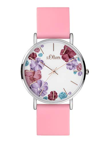 s.Oliver Damen Analog Quarz Uhr mit Silicone Armband SO-4078-PQ