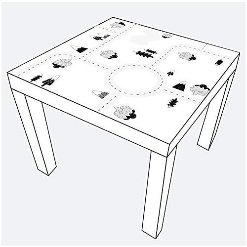 yabaduu YX012 Möbelaufkleber Spielfolie Design Straße Verkehr passend für Lack Tisch Spieltisch Kinderzimmer Möbeltattoo 53x53 cm (Grautöne)