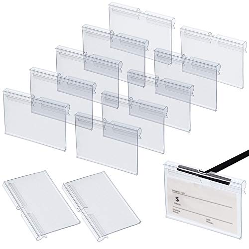 Rayong 50 Stück Etikettenhalter aus Kunststoff, Transparent Preisschild Etikettenhalter, Kunststoff Regal Etikettenhalter, Perfekt für Shop Supermärkten (6 cm x 4.2 cm)