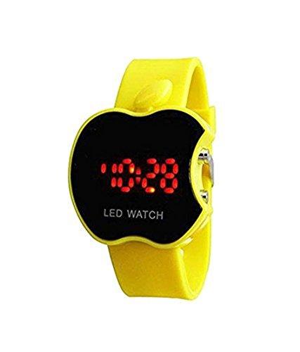 Swissrock Apple Shape Kids Yellow LED Wrist Watch Digital Boys/Girls