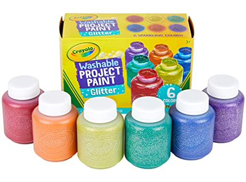 Crayola Washable Glitter Paint Great for Classroom Projects, 6 Count