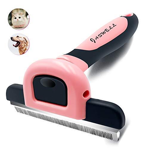 JASWELL Tierhaar-Schuppen-Werkzeug für Hunde und Katzen Das Hundepflege-Werkzeug reduziert das Schuppen effektiv um bis zu 95% professionelle Enthaarungsbürste (rosa)