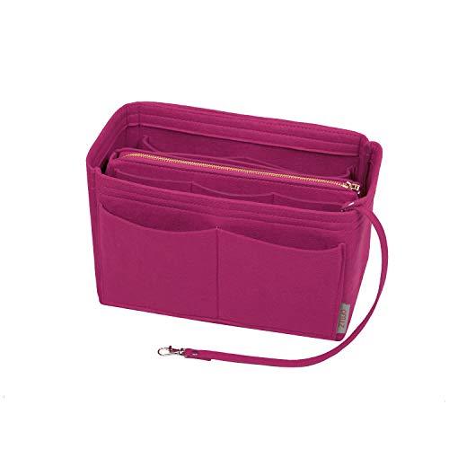 Purse Organizer Insert, Felt Bag organizer with zipper, Handbag & Tote Shaper, Fit Speedy, Neverfull, Tote (Slender Medium, Rosy)