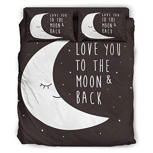BerighTIo Juego de ropa de cama de 4 piezas, con texto 'I Love You to The Moon and Back', transpirable, refrescante y resistente a la luz, para el dormitorio de casa, color blanco, 228 x 264 cm