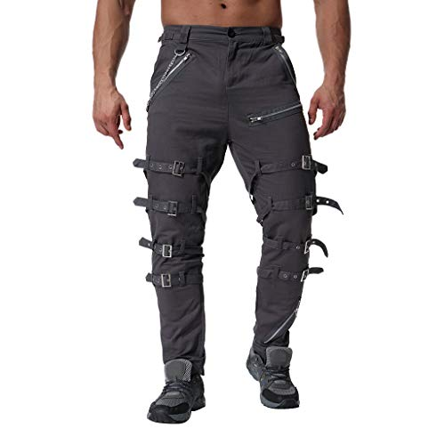 MCYs MCYs Herren Jeans Hose Pocket locker lässige Jeans Stretch Jogger Sporthose Vintage Baumwolle Multi Reißverschluss Cargo Lange Hosen