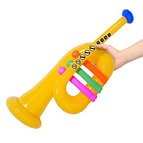 NET TOYS Aufblasbare Trompete 60 cm Gummitrompete aufblasbar Blasinstrument Zirkus Musik Instrument Partyinstrument Lufttrompete Scherzartikel Karaoke Clown Zubehör