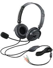 エレコム ヘッドセット マイク 両耳 オーバーヘッド 1.8m 折り畳み式 40mmドライバ ブラック HS-HP20BK