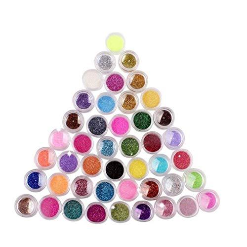 45 Colores Sombra de Ojos Maquillaje de uñas de Arte Pigmento del Brillo del Polvo del Polvo del Brillo UV Conjunto del Constructor del Gel de acrílico del Clavo decoración del Arte
