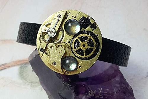 Steampunk-Armband,Gustav Klimt, Art-deco, Messing Uhrwerke & Mechanismus, vintage Gascabochons, schwarzes Kunstarmband und Polymer, Verlängerungskette, Unikat