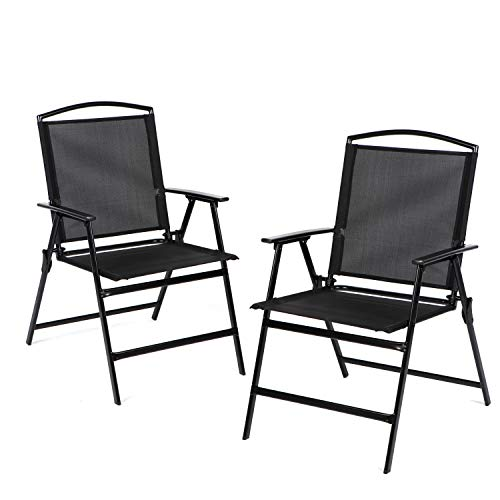 Bylring Patio Folding Sling Dining Chairs Set of 2 Outdoor&Indoor Backrest Portable Chairs for Lawn Garden Patio Pool Yard W/Armrest