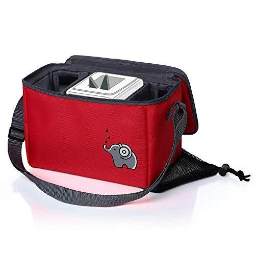 Musikbox-Tasche für Hörwürfel (z.B. Toniebox und Tigerbox Touch) in ararot | Verstellbare Innenfächer | Netzbeutel für Zubehör (z.B. 10 Hörfiguren oder SD-Karten)