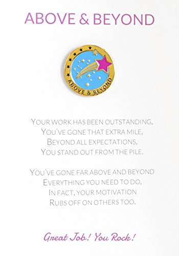 Above & Beyond Appreciation Greeting Card & Amazing Lapel Pin Gift, Perfect for Employee, Teacher, Student, Co-worker, Volunteer Recognition and Thanks