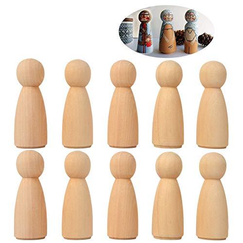 """20 piezas 65 mm (2.55\"""") Mujeres sin terminar Cuerpos de muñecas de madera Muñeca de ángel Cuerpo Peg, Muñeca de madera Gente para niños Arte y manualidades creativas de bricolaje (20 mujeres)"""