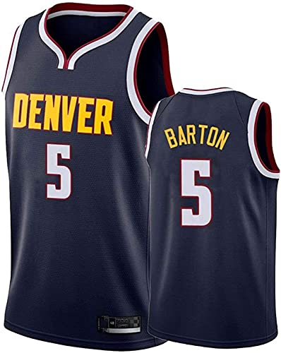 Ventilador De Hombres Jersey Denver Nuggets # 5 Barton Repetible Baloncesto Fresco De Tela Transpirable Jersey Chaleco,Negro,XXL185~190cm