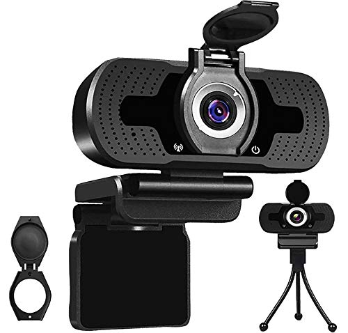 Computer Webcam and Speaker PC Laptop Camera for Zoom Webcam with Microphone for Streaming Autofocus with Privacy Cover Cheap Webcam for PC Windows 10/Mac/Laptop/Macbook/Tablet Flexible Rotatable Clip