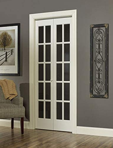 LTL Home Products Traditional Divided Glass Unfinished Wood Tone Bifold Door
