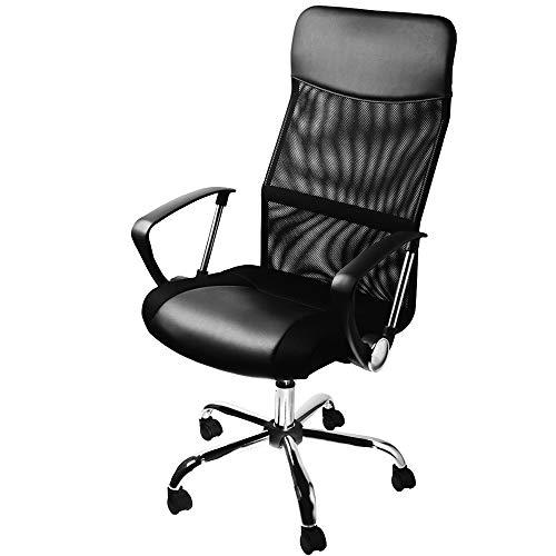 Casaria Silla de Oficina Negra con Ruedas giratorias sillón ergonómico con Altura Ajustable Silla de Interior Escritorio