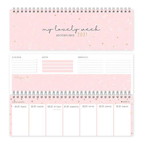 Wochenplaner Tischkalender 2021 quer | Tischquerkalender und Terminplaner für Büro oder Zuhause, mit Wochennummern, Feiertagen und Platz für Extras