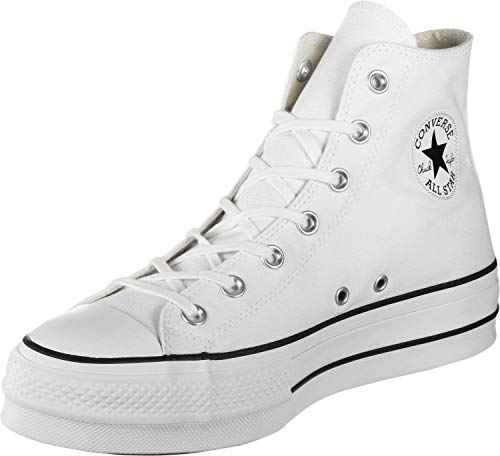 Converse Women's Chuck Taylor All Star Platform High Top Sneaker, White/Black/White, 8 M US