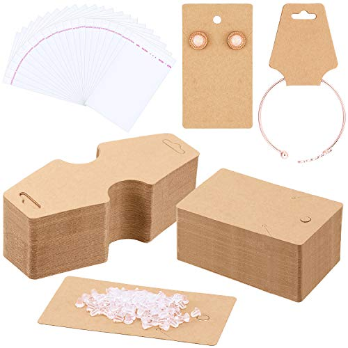 WILLBOND 200 Pieces Earring Cards Earrings Necklace Display Cards 200 Pieces Earring Backs and 100 Pieces Self-Adhesive Cellophane Bags for Packaging Display Jewelry Earrings Necklaces