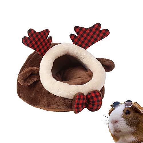 PULEIDI Meerschweinchenbett – waschbares Meerschweinchen-Versteck für den Winter, Plüsch-Habitat für Kleintiere, Kuschelsack für Meerschweinchen, Chinchilla, Hamster, Igel – Elk-Stil