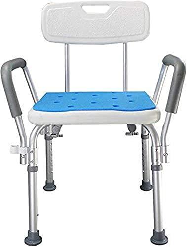 WXDP Autopropulsado Taburete de Ducha Asiento de baño Silla de baño de Aluminio Ligero con apoyabrazos y Respaldo Antideslizante Altura Ajustable Personas Mayores
