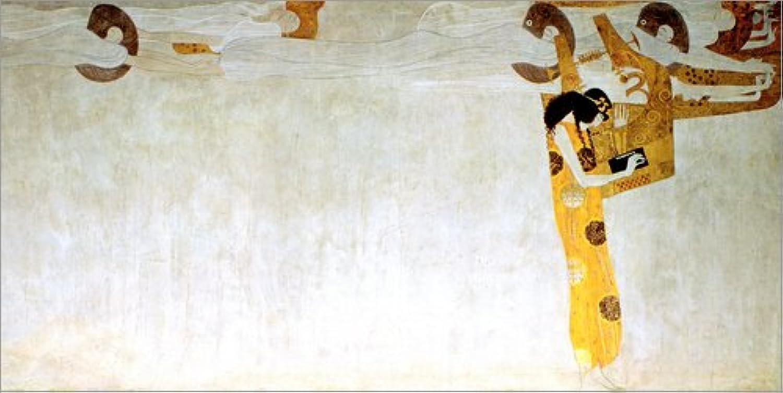 Leinwandbild 120 x 60 cm    Beethovenfries  Die Sehnsucht nach Glück findet Stillung in der Poesie von Gustav Klimt akg-Images - fertiges Wandbild, Bild auf Keilrahmen, Fertigbild auf echter Lein. B0773L78RM d7aa8a