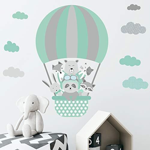 Greenluup Oko Wandsticker Heissluftballon Mint Grau Tiere Sternen Wolken Baby Kinder Kinderzimmer Babyzimmer Madchen Junge Jungen W50 Moebel Suchmaschine Ladendirekt De