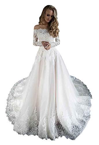 Damen A-Linie schulterfrei Spitze Applikationen Pailletten Hochzeitskleid für Braut mit langen Ärmeln Zug Tüll Brautkleid Gr. 52, elfenbeinfarben