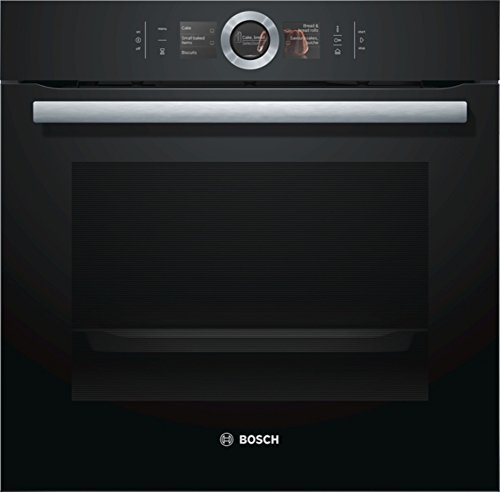 Bosch HSG636BB1 Serie 8 Einbau-Dampfbackofen / A+ / 71 L / 1 L Wassertank / Schwarz / Klapptür / TFT-Display / 12 Beheizungsarten + 4 Beheizungsarten mit Dampf / Bosch Assist / EcoClean Direct