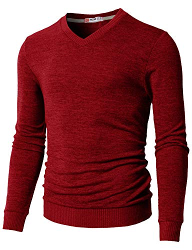 H2H Mens Slim Fit Cable Knit Long Sleeve V-Neck Pullover Sweater RED US XL/Asia 2XL (CMOSWL018)