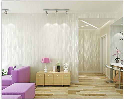 Papel Pintado No Tejido Diseño Moderno Rayado Efecto Blanco Plata No-Tejido de Papeles Muro Decoración de Pared para Dormitorio TV Telón de Fondo 0.53x10m