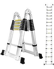 wolketon Escalera telescópica de Aluminio Fuerte Estabilidad Escalera plegable Escalera alta multifuncional para loft Antideslizantes Carga 150 KG