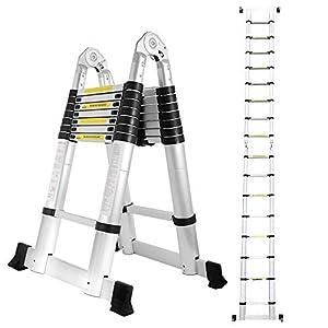 wolketon 5(2,5+2,5) M Escalera telescópica de Aluminio Fuerte Estabilidad Escalera plegable Escalera alta multifuncional para loft 8+8 Escalones Antideslizantes Carga 150 KG