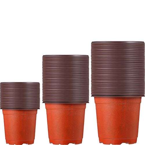 100 Pieces Plastic Plant Nursery Pots Reusable Plant Seeding Nursery Pot Flower Plant Containers Seed Starting Pots for Gardens, 3 Sizes