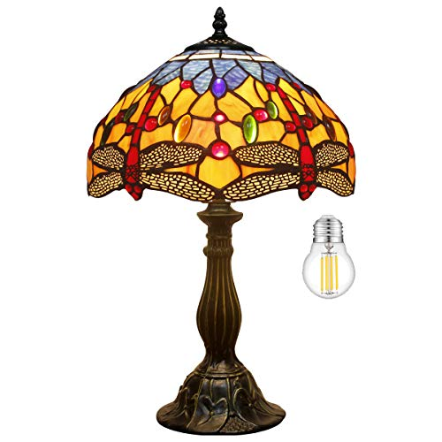 Tiffany Lamp (LED Bulb Included) Orange Blue Stained Glass Crystal Bead Dragonfly Style Table Reading Light W12H18 Inch S168 WERFACTORY LAMPS Parents Lover Friend Kids Living Room Bedroom Bedside Desk