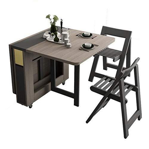 JIADUOBAO Juego de mesa de comedor plegable de madera maciza, muebles de cocina de madera maciza, pequeño apartamento, mesa de mesa, mesa de 1,2 m (color: mesa+2 sillas)